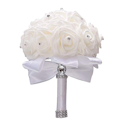 Nanxin Ramo de la Boda, Ramo Artificial Rosa Mano, Blanco de Novia con Flores Novia para Decoración Banquete de Bodas