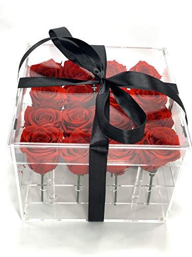 Rosas eternas en Caja acrílica - Rosas Rojas preservadas San Valentín - Flores preservadas en Caja acrílica Transparente con Tarjeta DEDICATORIA (16 Rosas)
