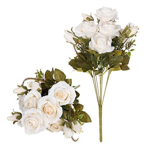 Tifuly Rosas Artificiales, 2 Ramos 12 Flores de Seda Cabezas de Flores Falsos capullos de Rosas para el hogar Oficina Hotel Decoración de la Boda, Arreglo Floral, Centros de Mesa(Blanco Crema)