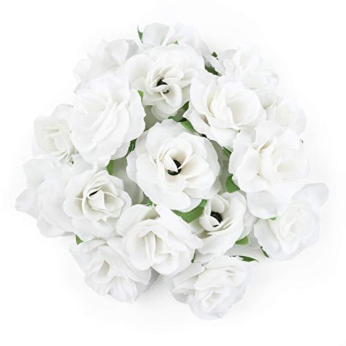 Kesote 50 Cabezas de Flores Artificiales Cabezas de Rosas para Decoración de Banquete de Boda DIY Regalo del Día de San Valentín (4cm, Blanco)