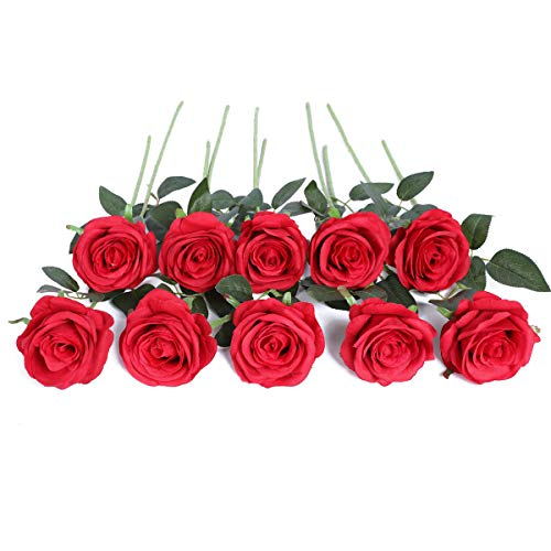 JUSTOYOU - Ramo de rosas artificiales de seda (10 unidades) Rojo