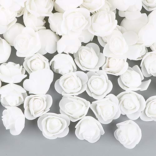 VINFUTUR 200pcs Rosas Artificiales Blanco Flores Falsas Pequeñas Rosas Espuma para DIY Regalos Decoración Jarrón Mesa Boda Manualidad