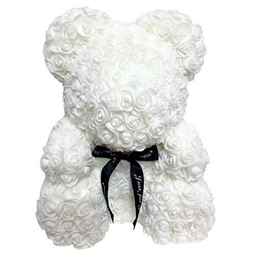 CerisiaAnn Oso romántico de rosas artificiales, regalo para San Valentín, cumpleaños, bodas y aniversarios, color rojo vino (blanco)
