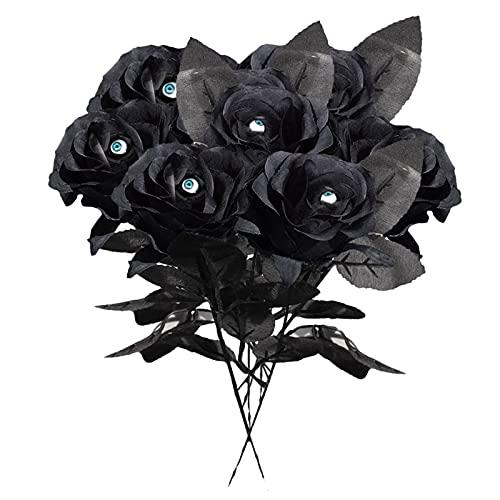 Sogaml 12 rosas negras artificiales de 40,6 cm de rosa de seda con globo ocular, decoración de flores para interiores y exteriores, Halloween, centro de mesa, fiesta, hogar