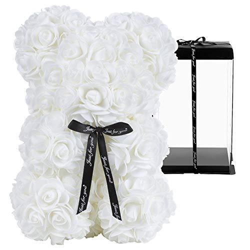 GuKKK Osito de Rosas con Caja de Regalo de Pozy, Rosa Oso, Oso de Rosas, Oso Flores, Oso de Flores Aniversario, Regalo para mamá Valentín, Cumpleaños, Aniversario-Caja de Regalo (10 Pulgadas) (Blanco)