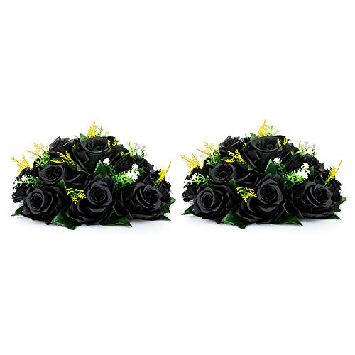 Nuptio Rosas Negras Flores Artificiales 2 Piezas Ramo de Flores Falsas Flores de Hortensias Negras Artificiales, 15 Cabezas Rosas Falsas con Base, Flores Artificiales Negras de Aspecto Real