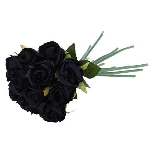 VIVIANU 12 cabezas de rosas artificiales de seda para ramo de boda, fiesta, decoración del hogar