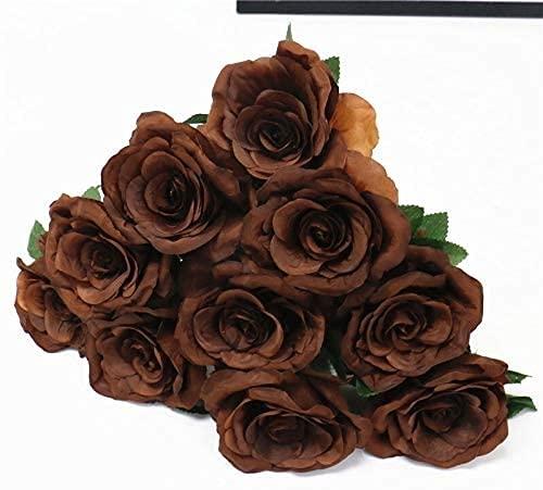 ZRDSZWZ Fiable flor artificial PU Real Touch Artificial Negro Rose Tulipán magnífico látex flor estambres boda falso flor Home Party Memorial 15PCS flores artificiales para decoración