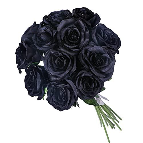 Kisflower 12 Unids Rosas Flores Artificiales Realista Flores de Tallo Único Ramo de Seda Rosa para Fiesta de Boda Oficina Decoración para el hogar (Negro)