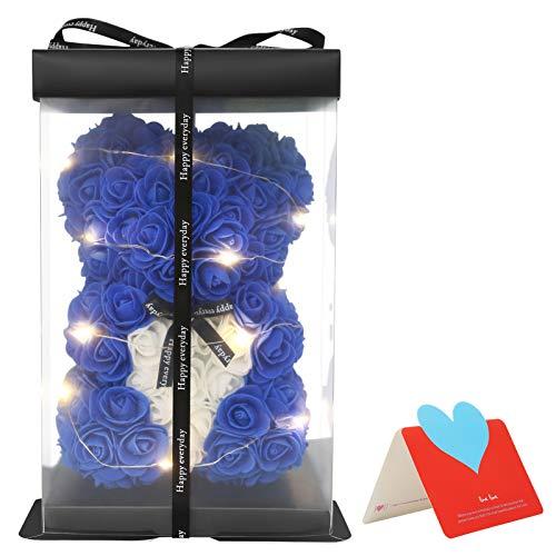 Delisouls Oso Rosas Regalo, Oso de Flores Con Una Caja de Regalo Transparente Con barra de luz, Oso de Flores Artificiales Regalo Adornos para de Cumpleaños San Valentín Aniversario Regalo (azul real)