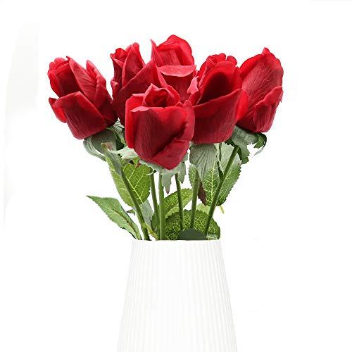 Flores Artificiales, 6 Piezas de Rosas Artificiales, Ramo de Boda Nupcial de Seda Rosa Falsa de Tallo Largo Realista para Decoración de Hotel de Fiesta en El Jardín del Hogar (Rojo)