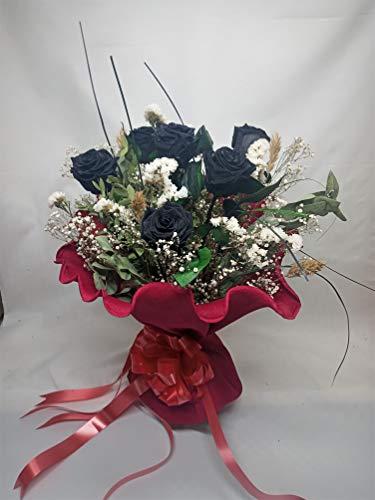 Almaflor Rosa Eterna Negra. Gratis tu Envio. Ramos de 6 Rosas Negras eternas. Ramo de Rosas preservadas Negras. Decorado con Verdes y Flores preservados. Hecho en España