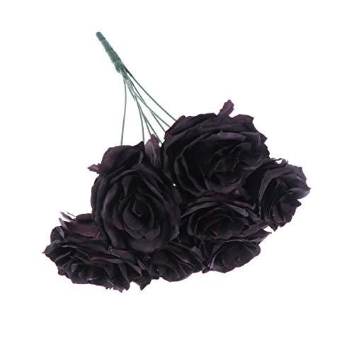 HEALLILY Rosa Artificial Flor Rosa Negra Ramo escama Flores de Tallo Largo para Fiesta de Boda Festival decoración del hogar (7 Rosa)