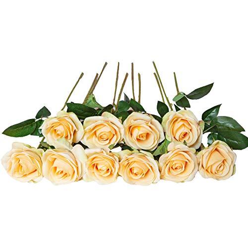 DuHouse 10 rosas falsas flores de seda artificiales de imitación de rosas rosas para arreglos de boda, centro de mesa, fiesta, hogar, cocina, decoración (amarillo)