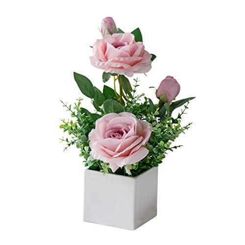 Geoyien Flores Artificiales en Maceta, Flores Artificiales Decorativas, Plantas de Flores Artificiales, Exquisito Ramo de Flores de Rosas Artificiales para Boda Oficina Mesa Dormitorio Cocina (Rosa)