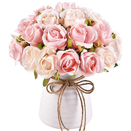 Maustic 2 unidades de rosas artificiales con 24 cabezas de rosas artificiales de seda para manualidades, ramos de boda, centros de mesa, novia, fiesta, rosa artificial