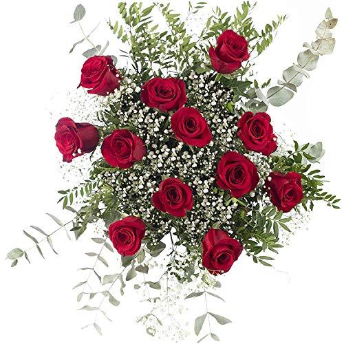 Ramo 12 Rosas Rojas   ENTREGA GRATIS 24 HORAS   Flores Naturales a Domicilio Blossom®   Ramo de Rosas Naturales a Domicilio Frescas y Recién Cortadas
