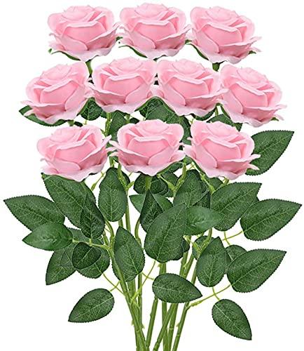 GDDREAM 10 PCS Rosas Artificiales,Ramo de Flores Artificiales Rosa Tallo Largo Abierta de Seda decoración de hogar de Bodas (Rosa)