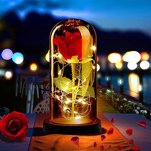 ASANMU Kit de Rosas, Rosa Eterna Bella y la Bestia Rosa de Seda Roja y luz LED con Pétalos Caídos en Cúpula de Cristal sobre una Base de Madera Mejor Regalo para Día de Madre/San Valentín/Cumpleaños