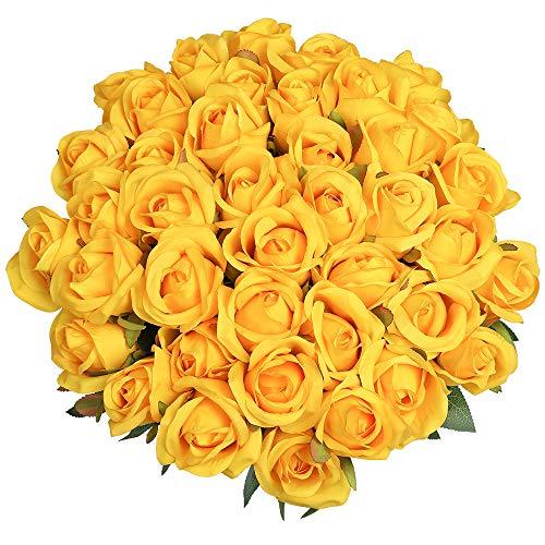 Veryhome 10 ramos de rosas artificiales de seda de un solo tallo de rosas para novia, para bodas, hogar, cumpleaños, arreglos de jardín, decoración de jardín (amarillo - Rosas)