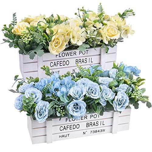 Flores artificiales - Plantas de flores de rosas de seda falsas en jarrón de madera para decoración de patio de oficina, boda, fiesta en casa (juego de 2, amarillo y azul)