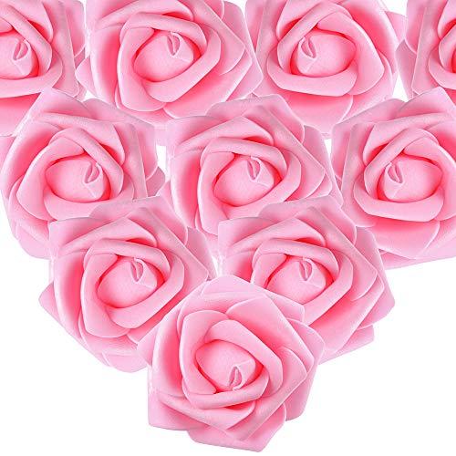 MEJOSER 50pcs Flores Rosas Artificiales en Espuma Cabezas de Rosa 7cm Rosas Falsas Decoración Boda Mesa Fiesta San Valentín Hogar Manualidades Oso Color Rosa Oscura