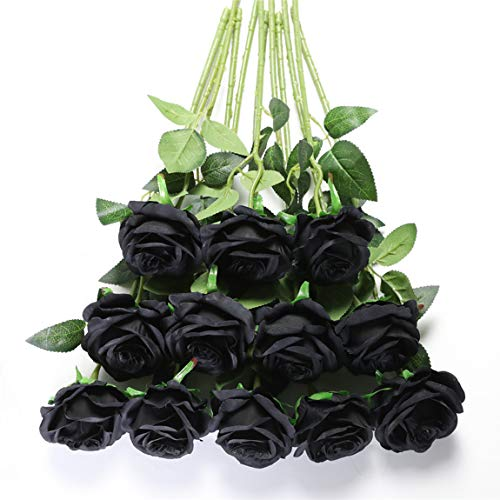 Tifuly 12 PCS Rosas Artificiales, Realista Largo Tallo Falso Rosa Seda Nupcial Ramo de Novia Flor para Home Garden Party Hotel Decoración (Negro)