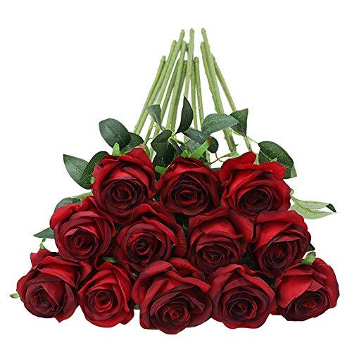 Tifuly 12 PCS Rosas Artificiales, Realista Largo Tallo Falso Rosa Seda Nupcial Ramo de Novia Flor para Home Garden Party Hotel Decoración (Borgoña)