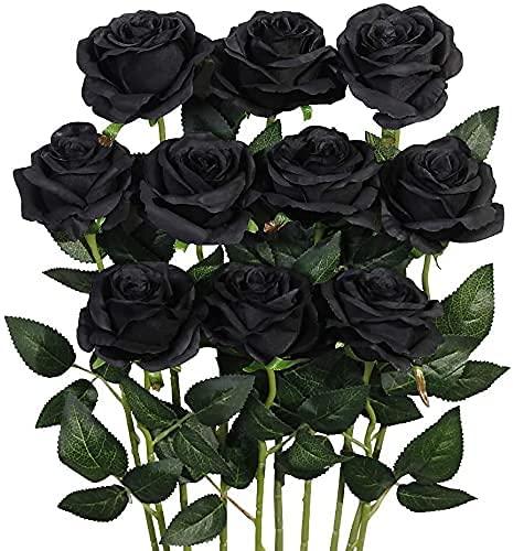 Rosas Artificiales,Ramo de Flores Artificiales Rosa Tallo Largo Abierta de Seda decoración de hogar de Bodas 10PCS (Negro)
