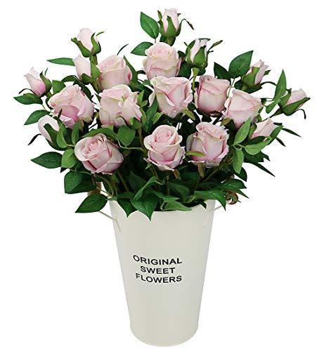 Olrla 6 rosas artificiales vintage, tallo largo, rosa de seda sintética, ramos de boda, decoración para el hogar, hotel, oficina, jardín, 6 unidades