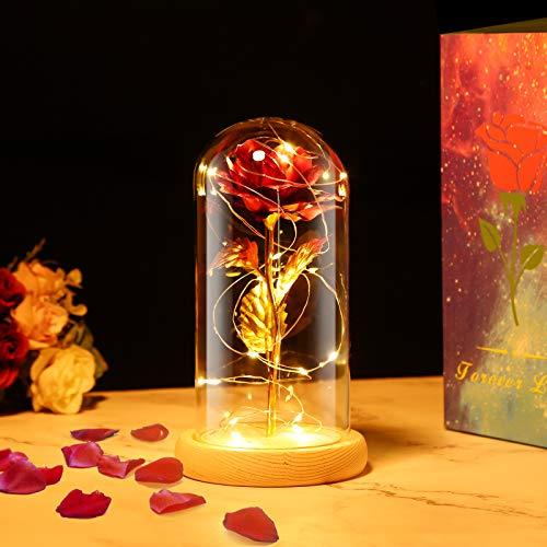 PREUP Rosa Eterna Rosas Bella y Bestia, Elegante Cúpula de Cristal con Base Pino Luces LED Regalos para el Día de San Valentín, Día de la Madre, Aniversario de Bodas, Cumpleaño (Dorado)