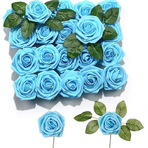 PartyWoo 20 Rosas Artificiales, Flores Artificiales, Flores Decorativas, Rosas de Espuma, Flores Artificiales, Flores Artificiales para decoración de cumpleaños, Bodas, Fiestas (Azul Pastel)