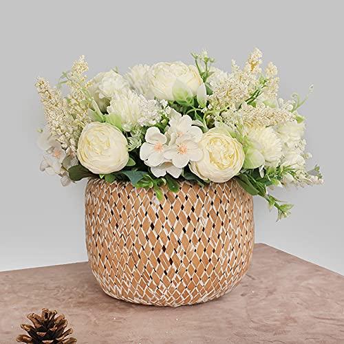 Flores Artificiales realistas para Bodas, Rosas Artificiales, San Valentíne, Garden, Hotel Decoración de Fiestas (Blanco)