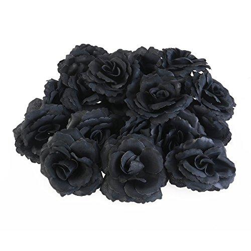 Ultnice Rosas negras artificiales flores de seda para manualidades, 50 unidades