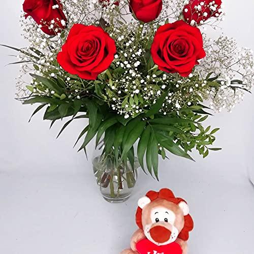 EL JARDÍ D´ESTHER-Ramo de 6 rosas rojas naturales con osito amor-Amoroso-FLORES FRESCAS-ENTREGA EN 24 HORAS DE LUNES A SABADO-FLORES NATURALES A DOMICILIO