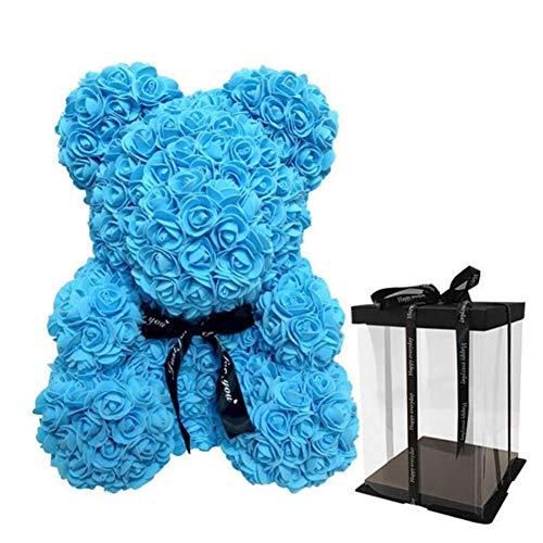 SUPERMOLON Oso de Rosas 40cm con Caja de Regalo - Rose Bear 40cm Oso Rosas Artificiales Foam - Regalo San Valentín, Enamorados, Aniversario, Amor, Cumpleaños, Regalo romántico (Azul)