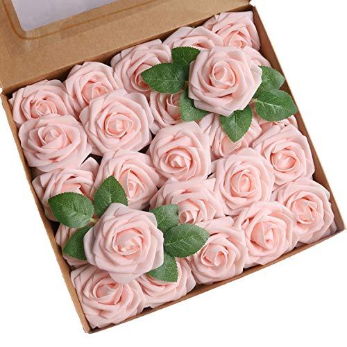 Roqueen 25 Piezas Flores Rosas Artificiales Espuma Rosa Falsa con Tallos para Boda Nupcial Ramos Centros de Mesa Preparativos Partido Hogar Decoración (Champán Rosa)