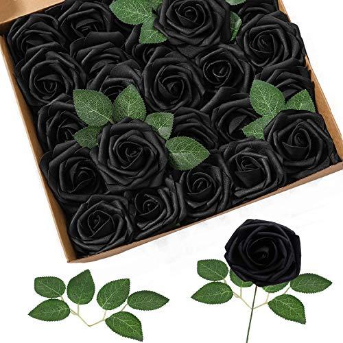 Homcomoda Flores Artificiales Rosas Falsas de Aspecto Real con Tallo para Bodas Ramos de Bricolaje Centros de Mesa Arreglo Fiesta Decoración del hogar (25pc, Negro)