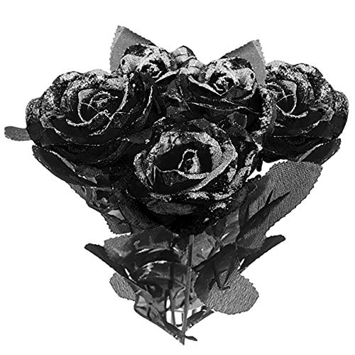 DRYEN Ramo de rosas artificiales de color negro, 12 unidades, con purpurina de Halloween, color negro/rojo/rosa sintética, flores de seda falsas con hoja y tallo para decoración de fiesta de Halloween