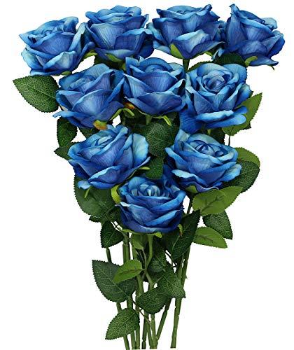 10 Piezas de Ramos de Flores Artificiales Azules, Rosas de Franela Falsas, Regalo del día de la Madre, decoración de la Oficina del hogar del Banquete de Boda