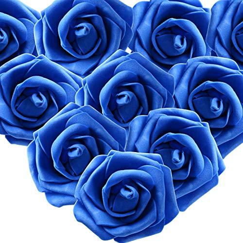 MEJOSER 50pcs Flores Rosas Artificiales en Espuma Cabezas de Rosa 7cm Rosas Falsas Decoración Boda Mesa Fiesta San Valentín Hogar Manualidades Oso Color Azul Oscuro