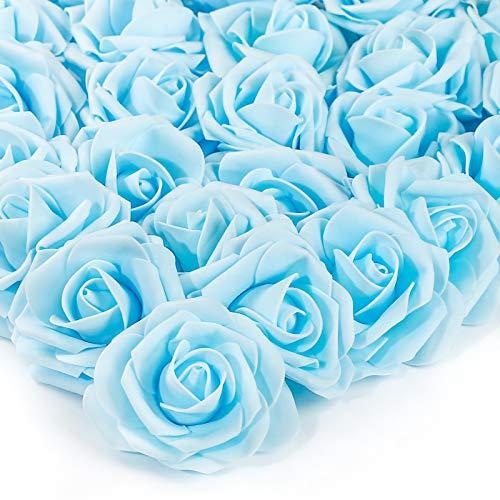 PartyWoo Flores Artificiales, 25 Piezas Rosas Artificiales, Flores Falsas, Flores Espuma, Flores Artificiales, Decoración de Habitaciones, Decoración del Hogar (Azul, sin Tallos)