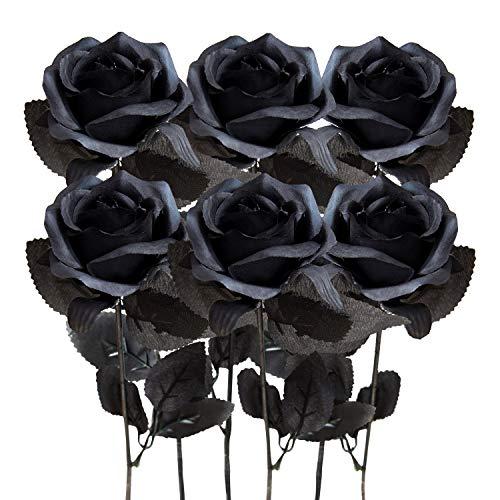 Kalolary Rosa artificial, 6 piezas de flores de seda en flor, flores falsas, hermosas flores de imitación realistas para bricolaje, ramos de boda, decoración del hogar (Negro)