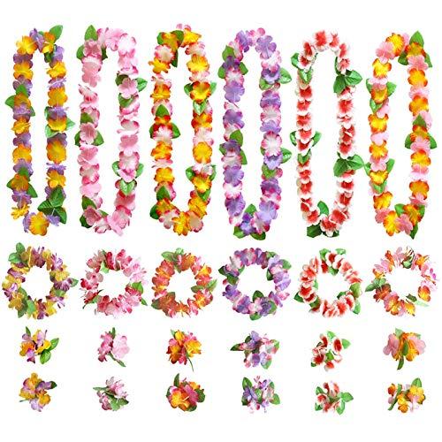 GWHOLE Juego de Guirnaldas Flores Hawaianas Decoración de Colores, 12 Collares 12 Diademas 24 Pulseras Lei Hawaiano de Flores Artificiales para Luau Fiesta Verano Playa Vestido