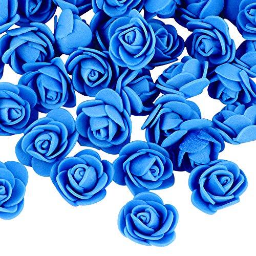 VINFUTUR 200pcs Rosas Artificiales Azul Flores Falsas Pequeñas Rosas Espuma para DIY Regalos Decoración Jarrón Mesa Boda Manualidad
