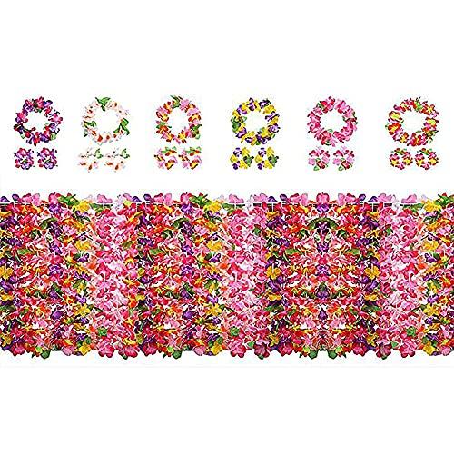 Yojoloin 24 Piezas Hawaianas Leis Luau Flores con 12 Pulseras 6 Diademas y 6 Collares para Luau Hawaiian Party Decoraciones Suministros Photo Booth Props.
