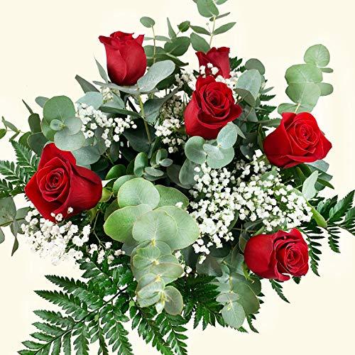RAMO DE 6 ROSAS ROJAS NATURALES - ENTREGA EN 24 HORAS - FLORES FRESCAS - Flores Aniversario