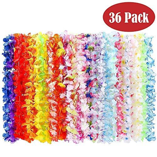 BangShou Flores Hawaianas Guirnalda Hawaiana Collar Pulsera Coloridos Reutilizables de Fuentes de La Decoración para Fiesta Hawaiana (36PCS)